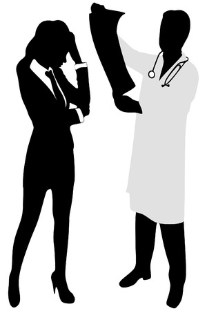 ct scan: doctor looking at full body x-ray radiographic image, ct scan, mri, isolated hospital clinic background Illustration