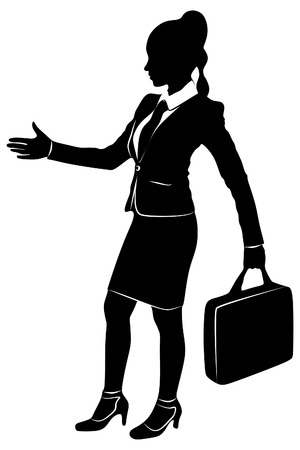 Business woman with hand extended for a handshake