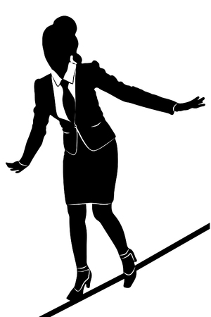 rope walker: young business woman walking on a tightrope Illustration