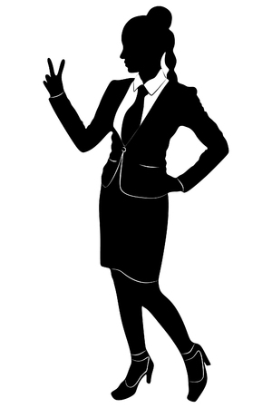 showing: young business woman showing two fingers