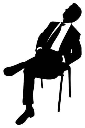 mistrust: business man sitting and looking up Illustration
