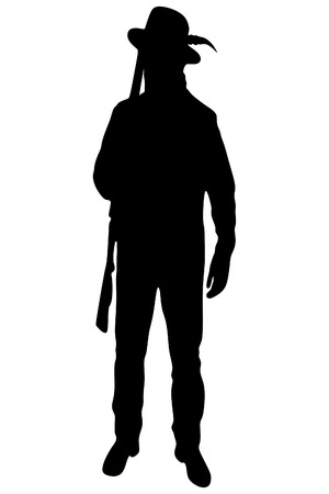 hunting rifle: Male hunter ready to hunt with hunting rifle Illustration