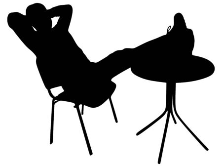 man relaxing with his feet up on the coffee table Illustration