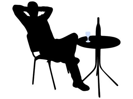 young man sitting in a bar 矢量图片