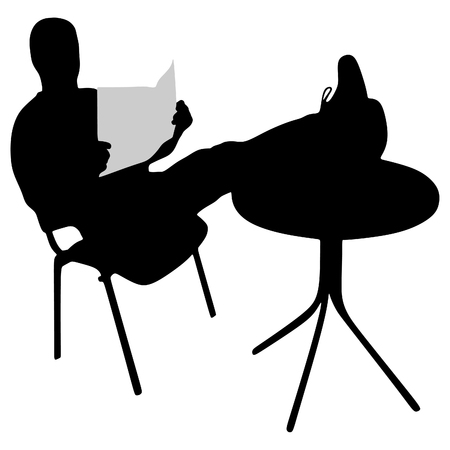 restful: man relaxing with his feet up on the coffee table while reading newspaper Illustration