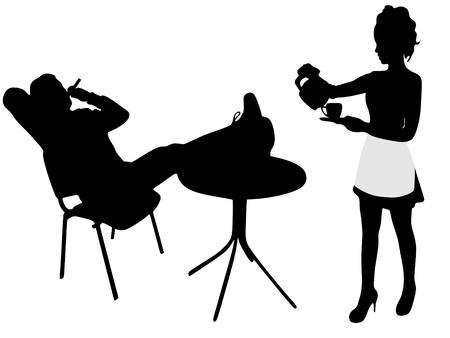 cigar smoking man: Waitress serving coffee while man relaxing and smoking cuban cigar Illustration