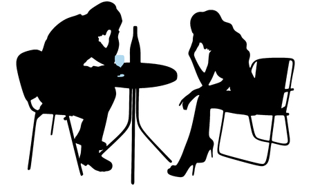 consuming: Silhouette of drunk man and crying woman Illustration