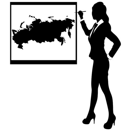 cray: Business woman show board, banner - map of russia Illustration