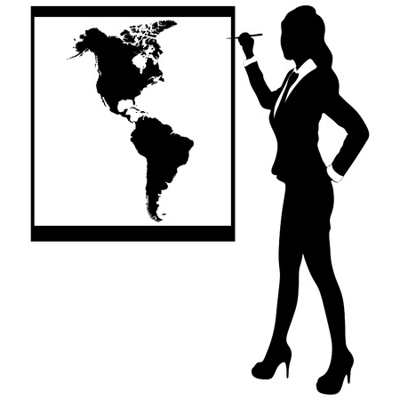 Business woman show board, banner - america