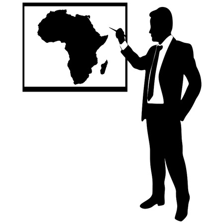 ethiopia abstract: Business man showing earth-map - africa