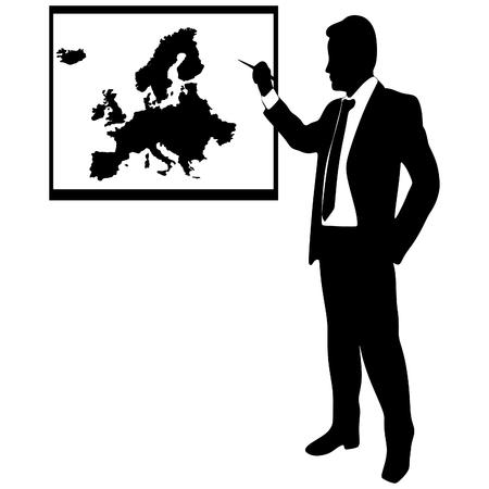 hombre de negocios que muestra la tierra-mapa - Europa