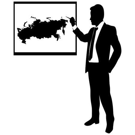 cray: Business man showing earth-map -Russia