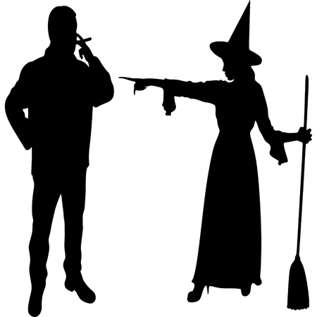 bewitched: witch putting a spell on a man