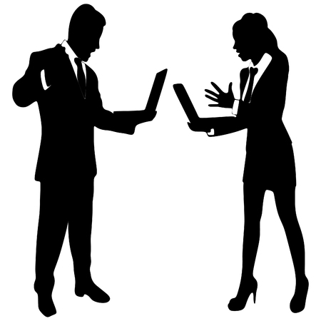 man yelling: angry young businesswoman and business man yelling