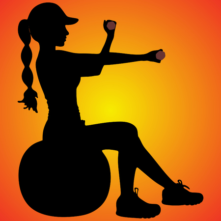 Fitness woman with dumbbells Illustration