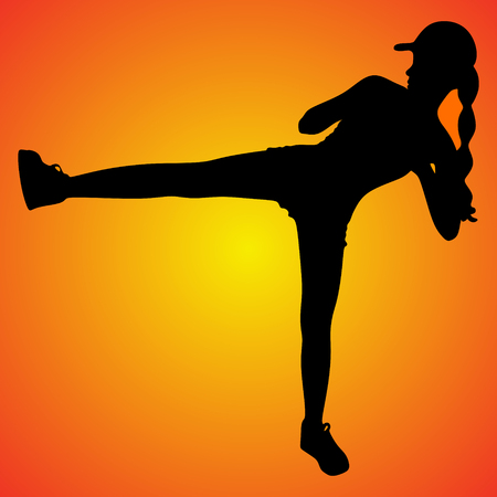fitness and lifestyle concept - woman doing sports