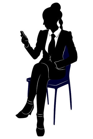 female lawyer: female lawyer looking at mobile smartphone Illustration