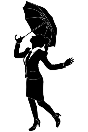 young businesswoman with umbrella