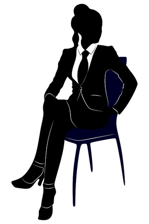 siting: Businesswoman siting on chair Illustration