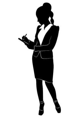 'one woman only': businesswoman standing with clipboard and pencil isolated on a white background