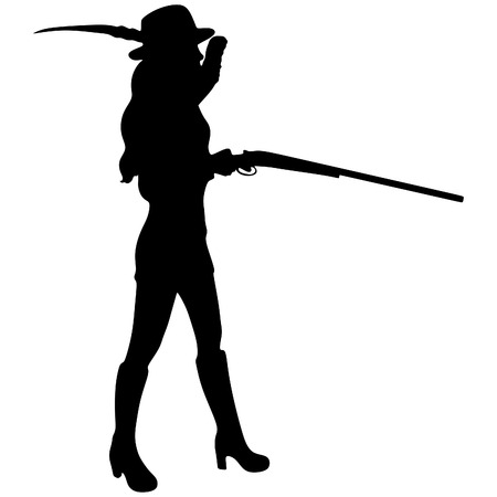 silhouetted: Woman Hunter Silhouetted Illustration
