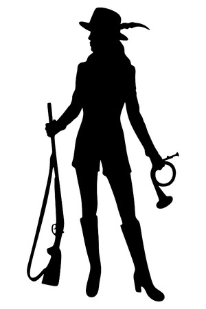 Woman Hunter Silhouetted Illustration