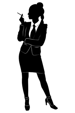 'one woman only': Businesswoman smoking a cigarette in the office