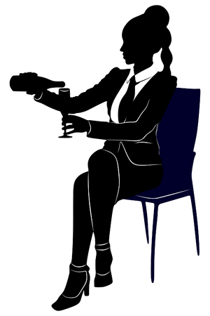 young businesswoman sitting with a glass of wine, isolated on white background Ilustração