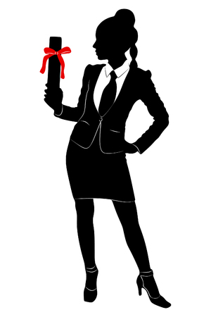 Young Businesswoman holds up her certificate Ilustração