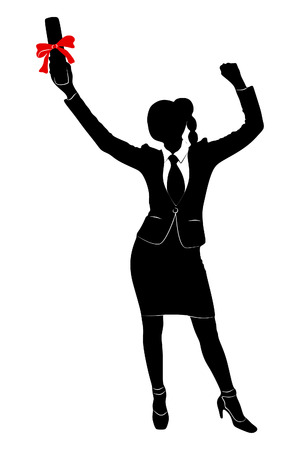one girl only: Young Businesswoman holds up her certificate Illustration