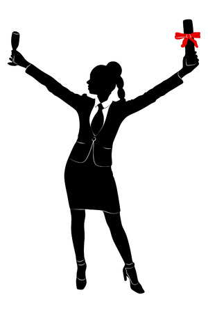 businesswoman standing: young businesswoman standing with a glass of wine