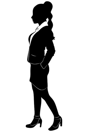 young business woman standing isolated on white background