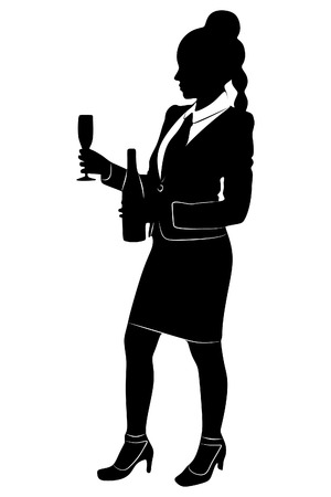 young businesswoman standing with a glass of wine