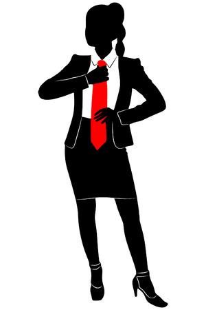 businesswoman fixing her tie Ilustração