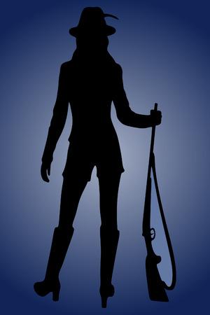 Woman Hunter Silhouetted Ilustração