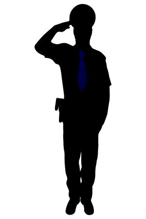 An illustration of a policeman or police officer standing Ilustração