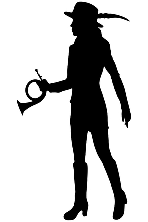 woman hunter with Hunting Horn