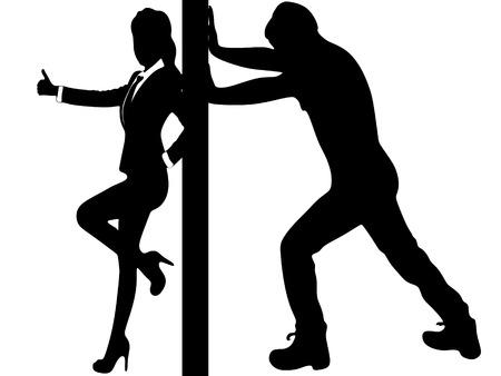 man pushing: man pushing a wall