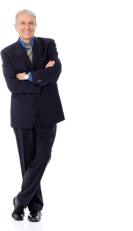 Image of senior businessman smiling, isolated on white