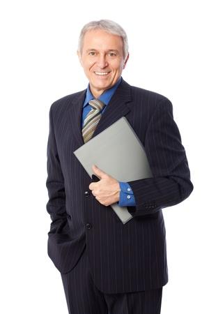 Afbeelding van senior zakenman glimlachend, geïsoleerd op wit