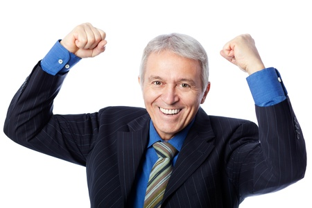 Image of delighted senior businessman, isolated on white