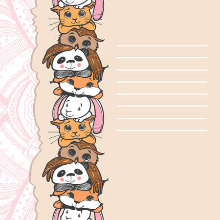 pattern of the animals for a card with place for text Vector