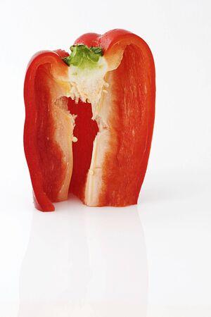 red pepper cut in half Stock Photo
