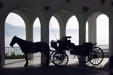 典型的なスペインの馬キャリッジ駆動