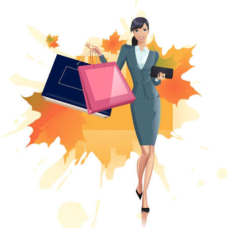 Pretty woman with purchases Vector
