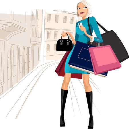 luxury lifestyle: Beauty woman om shopping in the city Illustration