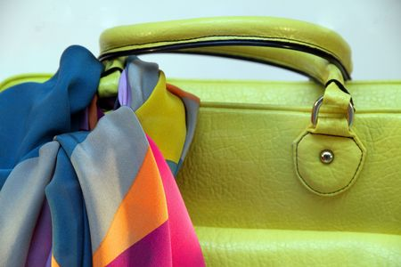 medium group of object: Green leather handbag and scarf of silk, Spring Summer Fashion collection  Stock Photo