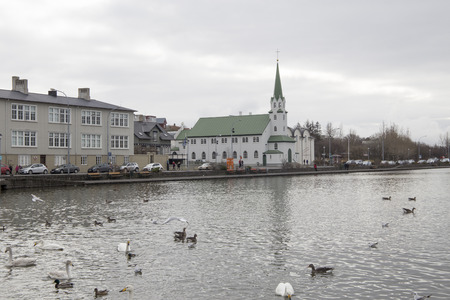 Cityscape in Reijkiavik capital of Iceland on March 19, 2018 Editorial