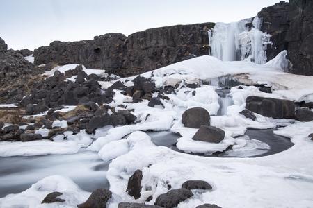 Oxararfoss Winter Waterfall Thingvellir National Park Iceland