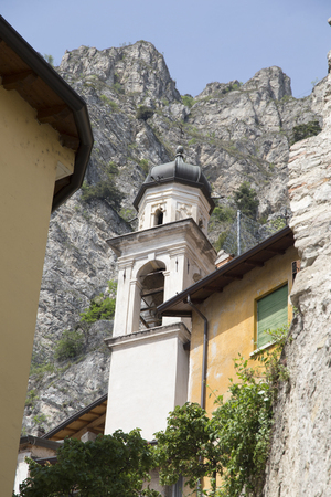 Tower of the church in Limone sul Garda Italy